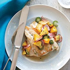 Sautéed Black Grouper with Peach Relish | CookingLight.com #myplate #protein #fruit #veggies
