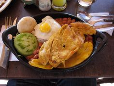 Bandeja Paisa with chicken instead of the usual beef and chicharron (pork fat). Location: Guatape