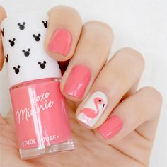 DIY Flamingo Nail Art | 23 Spring Nail Art Designs, check it out at http://makeuptutorials.com/nail-designs-spring-nail-art/