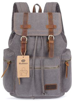 """BLUBOON Canvas Vintage Backpack Leather Casual Bookbag Men Rucksack (Grey). This BLUBOON canvas backpack is classic, nice vintage look and feel, which shows your outstanding temperament. There are multiple interior pockets everywhere, you can store things in places sure to have room for every little things you need organized. A laptop sleeve with velcro secured pocket which fits 15"""" laptop. It's highly protective to tighten with drawstring for the main compartment. Material: soft canvas…"""