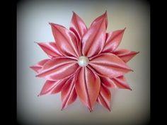 Цветок канзаши с острыми плоскими лепестками - YouTube