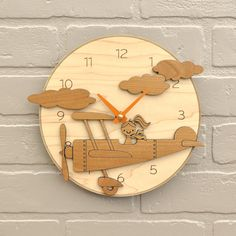 Airplane Nursery Clock Wood Kids Airplane by graphicspaceswood