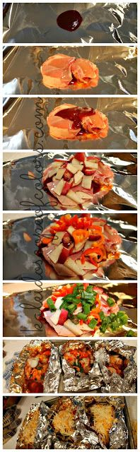 3T BBQ sauce 4 sm bone/skinless chic breast 2 sm unpeel red potato thin slice 1 bell pepper 1green onion 1/4t salt 1/8t pepper 1c cheese Preheat 375 Place 12x12 foil sheet work surface Put 1TBBQ in center of foil w 1 breast Spread another T over chic  Top w part-potato peppers&onion Sprinkle salt pepper Fold foil n1/2cover content seal Place on sheet Bake 35M  Open foil Sprinkle cheese on Return til cheese melts