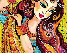 Indian dance art feminine beauty Indian bride art by EvitaWorks Indian Artwork, Indian Folk Art, Indian Art Paintings, Cherokee Indian Art, Abstract Paintings, Madhubani Art, Madhubani Painting, India Art, Mystique