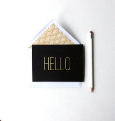 1 hand screen printed greeting card with metallic gold ink.    Blank inside, with additional textured white card stock to write your message.