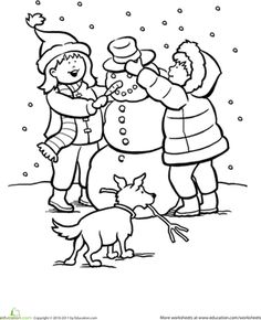 Girl Drawing a Snowman Coloring Page. Free coloring pages to ...