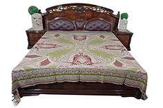 Mogul Boho Bedding Pashmina Wool Red Green Paisley Morocc…