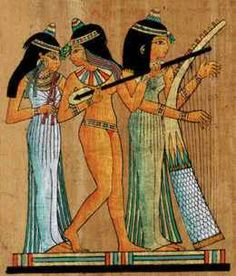 A representation on papyrus of music and dance in Ancient Egypt.