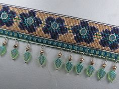 "Beads Beading Beaded, with Erin Simonetti: ""Don't Leaf Me""-Swap Cuff! Seed Bead Patterns, Peyote Patterns, Beading Patterns, Beading Tutorials, Bead Loom Bracelets, Beading Techniques, Loom Weaving, Beaded Jewelry, Jewelry Making"