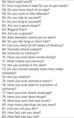 Cool questions to ask, interesting questions to ask, 20 questions game, dating questions Questions To Ask People, Questions To Get To Know Someone, Getting To Know Someone, This Or That Questions, Dating Questions, Relationship Questions, Interesting Questions To Ask, Relationship Memes, Paranoia Questions