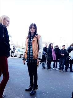 #KaitlinAas and that Sacai moto (with #JuliaNobis there too). #offduty in Paris.