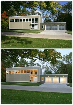 Day and night curb appeal on a modern modular home. Clopay Avante Collection glass garage doors, white aluminum frame with frosted glass panels. www.clopaydoor.com.