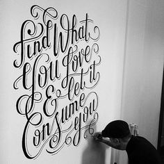 Hand lettering typography. Let God be your love. And let Him cosume your life.
