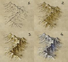 How to draw mountains on Fantasy Maps, by fantasticmaps.com map cartography resource tool how to tutorial instructions | Create your own roleplaying game material w/ RPG Bard: www.rpgbard.com | Writing inspiration for Dungeons and Dragons DND D&D Pathfinder PFRPG Warhammer 40k Star Wars Shadowrun Call of Cthulhu Lord of the Rings LoTR + d20 fantasy science fiction scifi horror design | Not Trusty Sword art: click artwork for source
