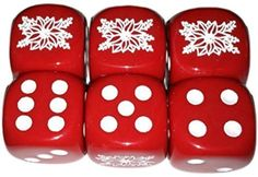 Custom & Unique {Standard Medium 16mm} 6 Ct Pack Set of 6 Sided [D6] Square Cube Shape Opaque Playing & Game Dice Made of Plastic w/ Holiday Xmas Christmas Design [Red & White]