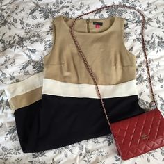 Vince Camuto color block dress Worn a few times. Very shape hugging but flattering because of the material. Great dress for office! Vince Camuto Dresses