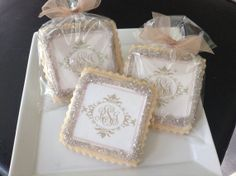Monogram wedding cookie favors...the blue monogram is here and there ...