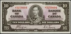 Bank of Canada 1937 Ten Dollar Bill The portrait of George VI wearing an admiral's uniform was based on a photograph taken by Bertra. Canadian Coins, Canadian History, Canadian Dollar, 10 Dollar Bill, Dollar Bill Origami, Old Coins, Rare Coins, Valuable Coins, Old Money