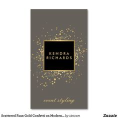 Scattered Faux Gold Confetti on Modern Gray Double-Sided Standard Business Cards (Pack Of 100)