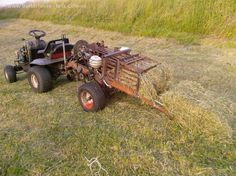 PTO adapted lawn mover, homemade haybailer http://www.accidentalsmallholder.net/