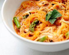 Creamy spaghetti squash- sub out chicken for tofu or tempeh