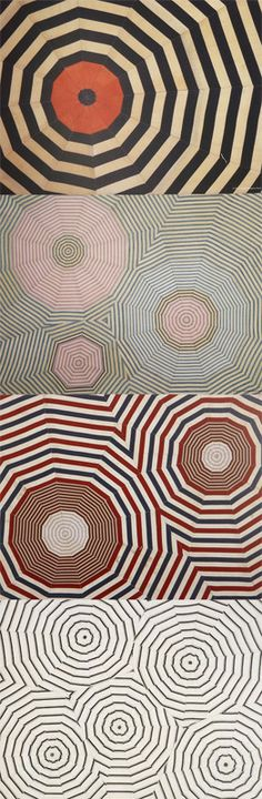 Designs from a beautifully patterned placemat set by Louise Bourgeois. Each placemat has been individually designed with the patterns resembling something like a spider web or an optical illusion.