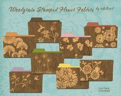 woodgrain stamped flower folders v1 by seven4soul