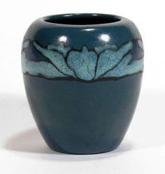 SEG-Paul-Revere-Pottery-Saturday-Evening-Girls-blue-lotus-vase-arts-amp-crafts