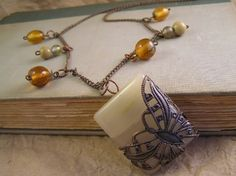 Agate filigree Butterfly necklace with copper chain by TheAmethystDragonfly, $30.00 USD