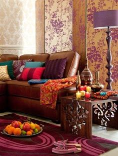 living room, funly purple and multi colored accents, love the lamp.