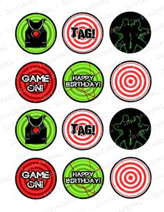 Laser Tag Cupcake Toppers (Printable File) Instant Download!