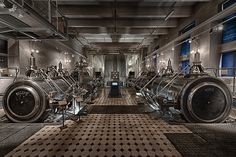 The steam engine museum. Pictured is the biggest steam engine used in Finland and it powered the Finlayson factory in early 1900. It had 1650 horse power and massive over 8m diameter flywheel.
