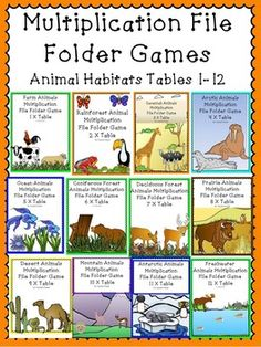 Multiplication File Folder Games Animal Habitats Multi-Pack!This set of multiplication file folder games includes the multiplication tables from 1 to 12. File folder games are great for independent work, partners, and math centers. Kids love file folder games as they feel like they are playing a game while working!