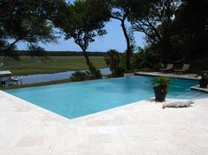 white marble pool deck - Google Search