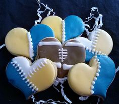 Valentine sugar cookies w/ royal icing in University of Michigan football theme