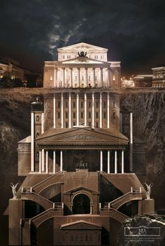 "BELOW THE SURFACE - Agency Saatchi&Saatchi Russia has made illustrations campaign for the Schusev State Museum of Architecture in Moscow, entitled as ""Below The Surface"". Architecture Design, Architecture Drawings, Monument Russe, Plan Ville, Saatchi & Saatchi, Bolshoi Theatre, Below The Surface, Surface 2, Fantasy Castle"