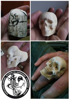 the art of Peter PG Gustafsson: bone carving. step by step skull ring