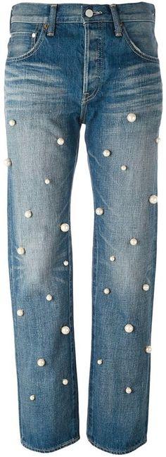 Tu Es Mon Tresor 'pearls' embellished boyfriend jeans