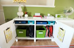 School Cubbies - Use sturdy boxes to make cubbies for the kids. This can be a place where they can have their backpacks, homework supplies, and even shoes ready for the next morning. | 25 Home Organization Ideas for a Less-Stressful School Year http://iheartorganizing.blogspot.com/2012/08/back-to-school-our-organized-entry.html