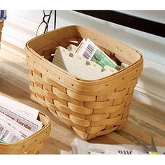 """Large Recipe Basket With this special Recipe Basket, it's easy to collect and organize the best recipes from family and friends. It makes a thoughtful gift for a special bride.  8""""l x 5 1/2""""w x 4 1/2""""h (front) x 6""""h (back); Rec. Wt. Use: 10 lbs. Available in eight different colors Your price $49.00 www.longaberger.com/angelsmith1"""