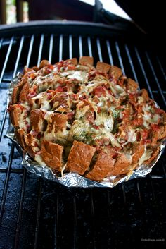 Our version of rye bread and dill dip done on the grill in the form of a pull apart bacon cheesy bread   Grilled Rye Bread with Dill   http://grillinfools.com