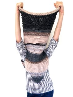 Chunky Soft Knit Poncho, Scarf, Cowl, Hood All in One // Armor Scarf in One of a Kind Stripe
