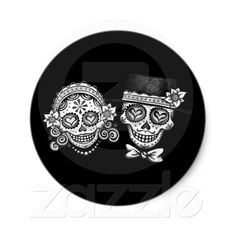 Los Novios Sugar Skull Stickers from Zazzle.com