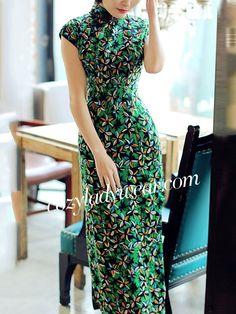 Green Floral Linen Qipao / Cheongsam Party Dress