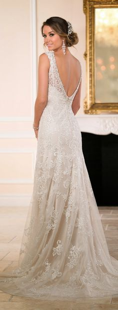 Wedding Dresses Lace Fishtail 6534 Backless Sheath Wedding Gown by Stella York.Wedding Dresses Lace Fishtail 6534 Backless Sheath Wedding Gown by Stella York 2015 Wedding Dresses, Wedding Attire, Bridal Dresses, Wedding Gowns, Bridesmaid Dresses, Wedding Blog, Boho Wedding, Elegant Wedding, Wedding Dresses Stella York