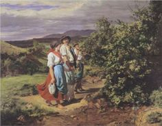 The lovers at a crossroads. Return from work  - Ferdinand Georg Waldmüller, c.1861, 110/122.