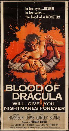"Blood of Dracula (American International, 1957). Three Sheet (41"" X 77.5"")"