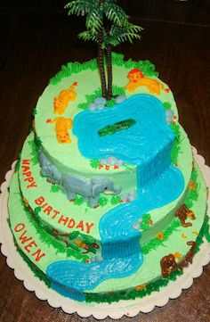 3-tiered jungle cake with waterfall