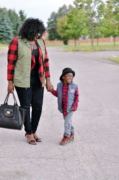How to layer your utility vest and  plaid jacket. Mother and son style.