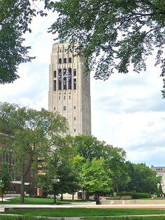 Burton Memorial Tower at the University of Michigan in Ann Arbor, Michigan Ann Arbor Real Estate, Eastern Michigan University, Photo Art, Photo Blog, Go Blue, Michigan Wolverines, Beautiful Architecture, John Kennedy, Towers